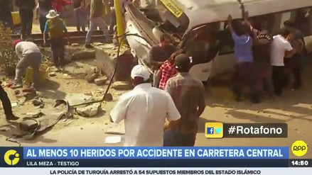 El choque de un bus en la Carretera Central dejó 10 heridos