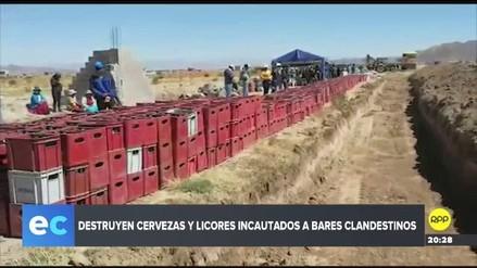 Autoridades destruyeron más de un millar de cajas de cerveza en Puno