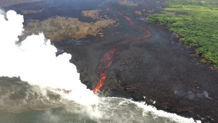 Los ríos de lava del volcán Kilauea vistos desde el espacio