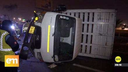 Un camión que transportaba pollos se volcó en la Panamericana Sur