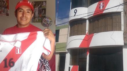 Hincha arequipeño pintó su casa con los colores de la camiseta de la Selección Peruana