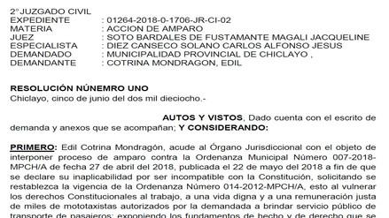 Segundo Juzgado Civil declaró improcedente medida cautelar contra ordenanza 007–2018