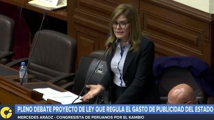 Mercedes Aráoz planteó que la ley de publicidad regrese a Comisión de Transportes