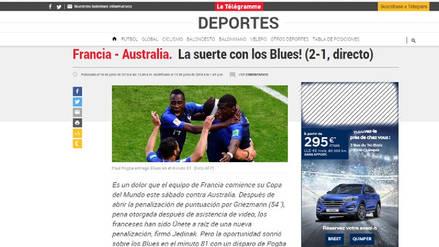 Así informaron los medios franceses de la victoria de Francia ante Australia