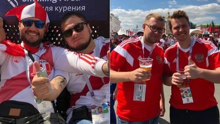 Rusia 2018: Hinchas de Perú y de Dinamarca disfrutaron de la previa del partido