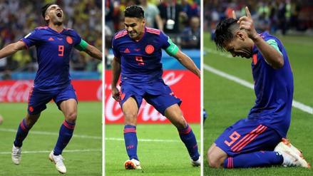 La celebración de Radamel Falcao al anotar su primer gol en los mundiales