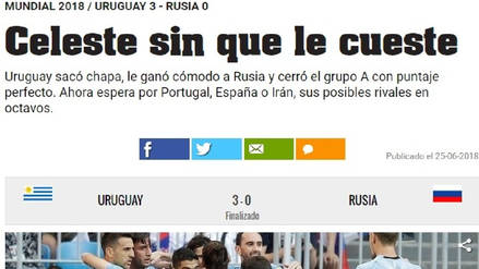 Así informó la prensa mundial tras el triunfo de Uruguay ante Rusia