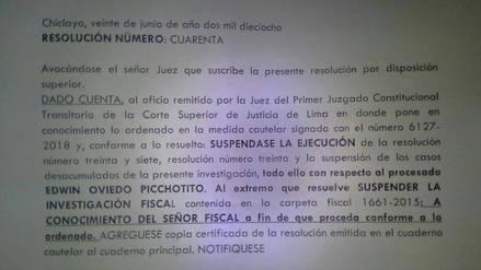 Suspenden ejecución de resoluciones judiciales y juicio a Edwin Oviedo
