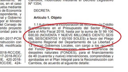 Estado aprueba transferir 99 millones 106 mil soles a La Libertad