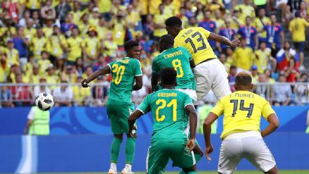 El gran salto de Yerry Mina para anotar el gol de Colombia sobre Senegal