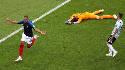 Kylian Mbappé comandó a Francia para vencer y eliminar a Argentina de Rusia 2018
