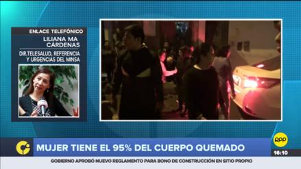 Mujer que fue atacada con fuego en Cajamarca tiene más del 80% del cuerpo quemado