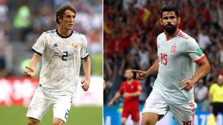 Mario Fernandes y Diego Costa, los brasileños que se ven las caras en el España vs. Rusia
