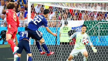Dos cabezazos de Bélgica en 5 minutos empataron el partido a Japón en los octavos de final