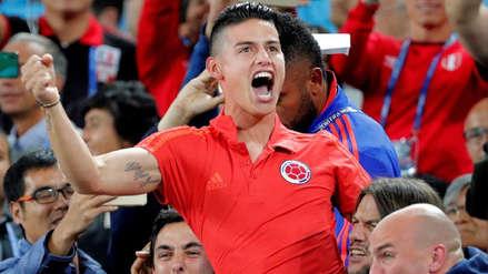 El eufórico festejo de James Rodríguez por el gol de Yerry Mina