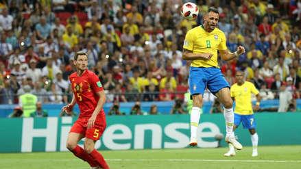 Renato Augusto marcó el descuento de Brasil ante Bélgica con este cabezazo