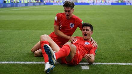 Inglaterra abrió el marcador contra Suecia con este cabezazo de Harry Maguire