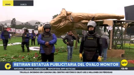 El municipio de Lima retiró una estatua publicitaria instalada en el Óvalo Monitor
