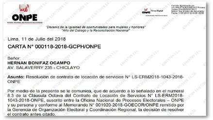 ONPE resolvió vínculo laboral con el coordinador de la ODPE Chiclayo