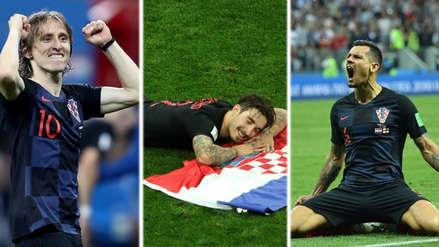 La alegría de los jugadores de Croacia tras clasificar a la final de Mundial