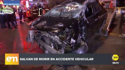 Un joven salvó de morir en un violento accidente en la Panamericana Sur