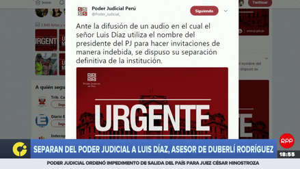 Separan del Poder Judicial a José Luis Díaz, asesor de Duberlí Rodriguez