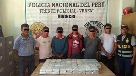 Dos operativos policiales en Vraem dejan 423 kilos de cocaína decomisados y 7 detenidos