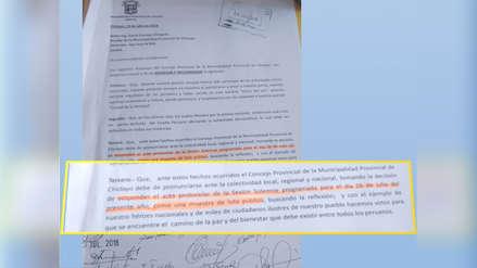 Regidores critican suspensión de Sesión Solemne por Fiestas Patrias en Chiclayo