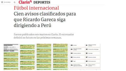 Clarín tras anuncios por Ricardo Gareca:
