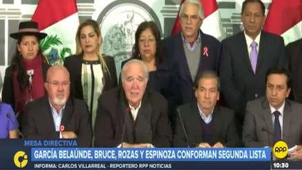 Grupo multipartidario inscribió su lista a la Mesa Directiva con García Belaúnde a la cabeza