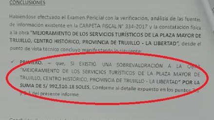 Fiscalía confirma sobrevaloración en plaza de armas de Trujillo