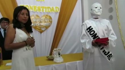 Candidata a la alcaldía de Chilca se casa con la 'Honestidad' en particular ceremonia