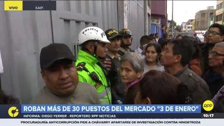 Delincuentes asaltaron más de 30 puestos del Mercado 3 de Enero en San Martín de Porres