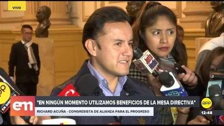 """Acuña dijo que la extensión de los beneficios para la Mesa Directiva se sustentó en un """"informe técnico"""""""