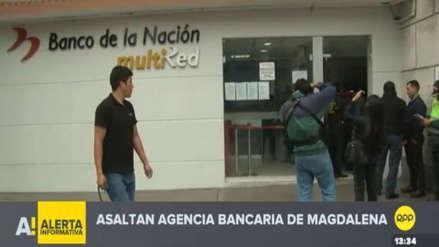 Delincuentes asaltaron una agencia del Banco de la Nación en Magdalena