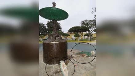 Destruyen pileta de la Plaza de Armas de Ferreñafe