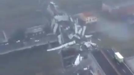 Tragedia en Italia: La vista aérea del derrumbe del puente en Génova