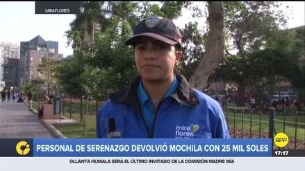 Serena de Miraflores encontró mochila con más de S/ 25 mil y la devolvió a su dueño