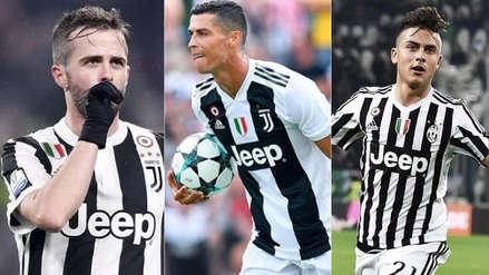 Cristiano Ronaldo y el once de la Juventus en su debut en la Serie A