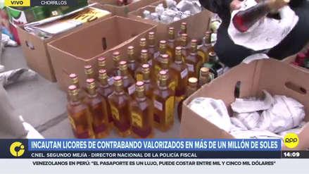 Policía incautó un camión repleto de botellas de whisky etiqueta negra, roja, azul de contrabando