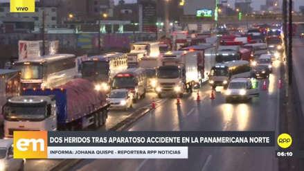 Gran congestión vehicular por la volcadura de un tráiler en la Panamericana Norte