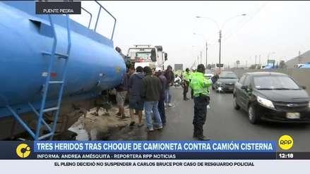 Ancón | Tres heridos graves por choque entre camioneta y camión cisterna en la Panamericana Norte
