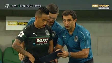 Christian Cueva tuvo minutos en  el empate de Krasnodar en la liga rusa