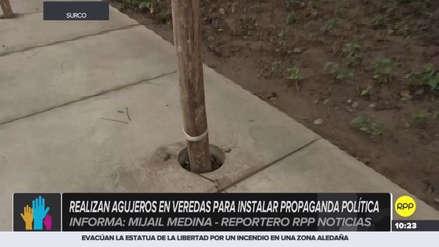 Candidatos hacen huecos en veredas de Lima para colocar su propaganda electoral