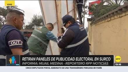 Municipalidad de Surco retiró paneles electorales que candidatos habían puesto en veredas