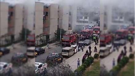 Un incendio se registra en un condominio de viviendas en El Agustino