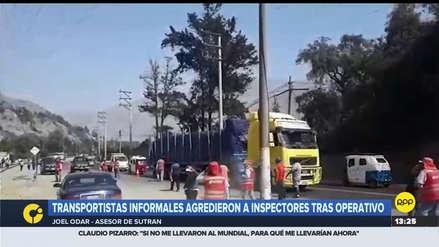 Inspectores de tránsito fueron agredidos por transportistas informales en la Carretera Central