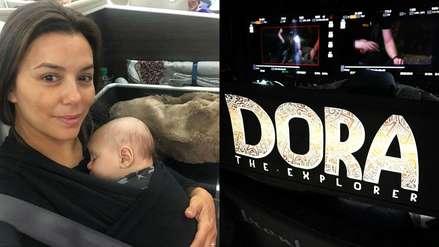 Eva Longoria posa sin maquillaje y viaja con su bebé para grabar