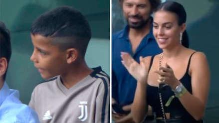 Cristiano Ronaldo anotó un 'doblete' y así celebraron Georgina Rodríguez y su hijo