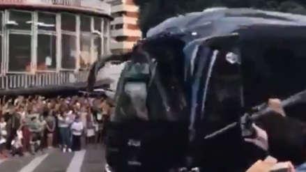 Así recibieron al bus de la Juventus con Cristiano Ronaldo antes del partido con Valencia